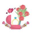 wedding floral decoration cartoon vector image vector image