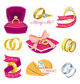 wedding rings engagement symbol gold silver vector image vector image
