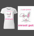 women white t-shirt design with rabbit vector image vector image