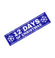 12 days of christmas scratched rectangle stamp vector image vector image