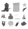 attributes of the wild west monochrome icons in vector image vector image