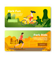 banners with rolling man and girl on bike vector image vector image