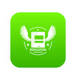 best education icon green vector image vector image