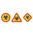 biohazard or biological threat alert icon warning vector image vector image