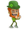cartoon funny scary redhead irish leprechaun boy vector image vector image