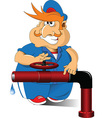 Cartoon plumber vector image vector image