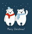 cartoon polar bears with scarf christmas card