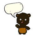cartoon waving black bear cub with speech bubble vector image vector image