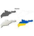 Chernivtsi blank outline map set vector image vector image