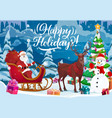 christmas sleigh with santa snowman and xmas gift vector image vector image