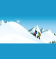 climbers is hiking in snowy winter mountains in vector image vector image