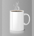 coffee or tea cup mockup with white steam isolated vector image