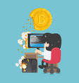concept bitcoin loss and working in vector image vector image