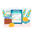 credit report concept wallet with money credit vector image