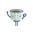 cup of black coffee or tea cartoon character vector image vector image