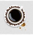 cup with coffee and plate and coffee grain and vector image vector image