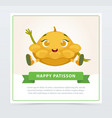cute humanized squash vegetable character waving vector image vector image