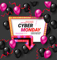 cyber monday sale card background vector image vector image