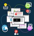 Different browser windows communication scheme vector image vector image