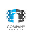 digital data share security logo design template vector image vector image