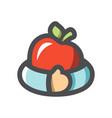 fruit teft apple hug icon cartoon vector image vector image