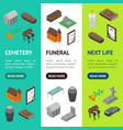 funeral signs 3d banner vertical set isometric vector image vector image
