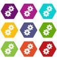 gear icon set color hexahedron vector image