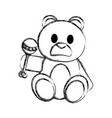 grunge bear teddy cute toy with rattle vector image vector image