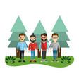 happy men friends with pine trees vector image vector image