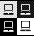 laptop icon isolated on black white and vector image