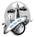 lighthouse with compass logo hand draw vintage vector image