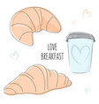love breakfast bakery doodles vector image