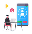 mobile phone and working woman agent with laptop vector image vector image