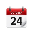 October 24 flat daily calendar icon Date vector image vector image