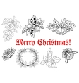 Outline of Christmas decorations set vector image
