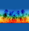 rainbow colors palms silhouettes vintage vector image vector image