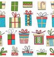 seamless pattern of gift packages Christmas gifts vector image vector image