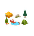 set isometric forest camping elements vector image