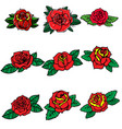 set of tattoo style roses design element for vector image