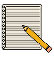 sheet notebook paper with pencil and supplies vector image