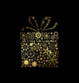 shining gold texture gift on the black vector image