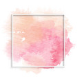 simple frame with pink watercolor stain vector image vector image