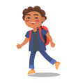 smiling kid in blue jacket and jeans with rucksack vector image vector image