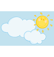 Smiling Sun Behind Cloud vector image vector image