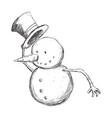 snowman cartoon christmas vector image