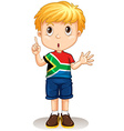 South African boy pointing his finger vector image vector image