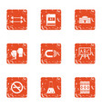 sport chemistry icons set grunge style vector image vector image
