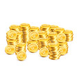 stacks of coins on the white background vector image