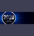 stylish happy new year 2020 glowing blue banner vector image