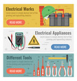 three banners for electrical works vector image vector image